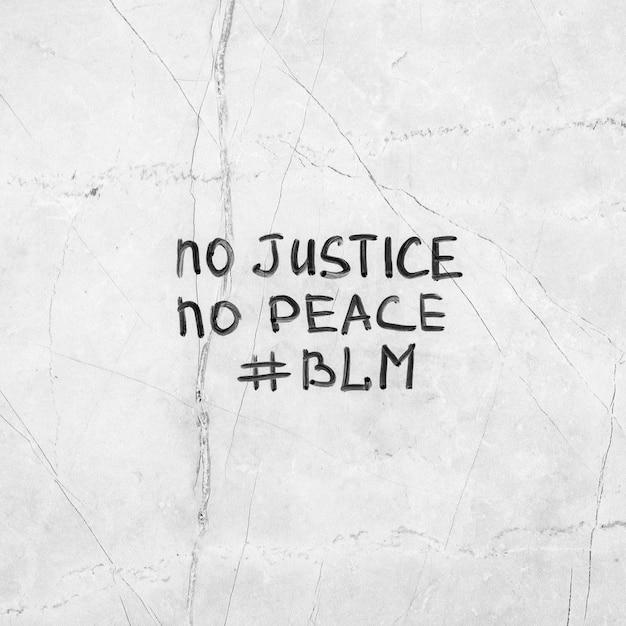 Zwarte levens zijn belangrijk zonder gerechtigheid, geen vrede Gratis Foto