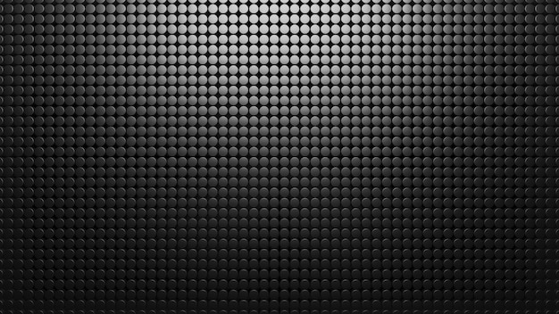 Zwarte metalen achtergrond van kleine cirkels. patroon mesh abstract 3d render. koolstof materiaal. textuur Premium Foto