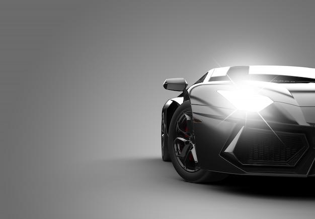 Zwarte moderne sportwagen Premium Foto