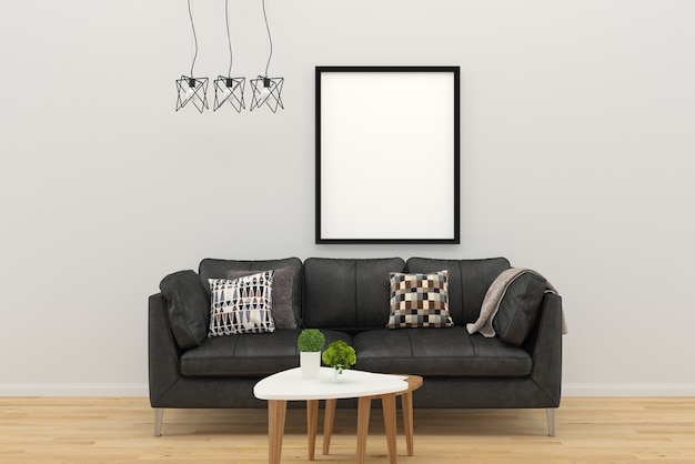 Zwarte sofa fotolijst woonkamer kussen boom tafel hout | Foto ...