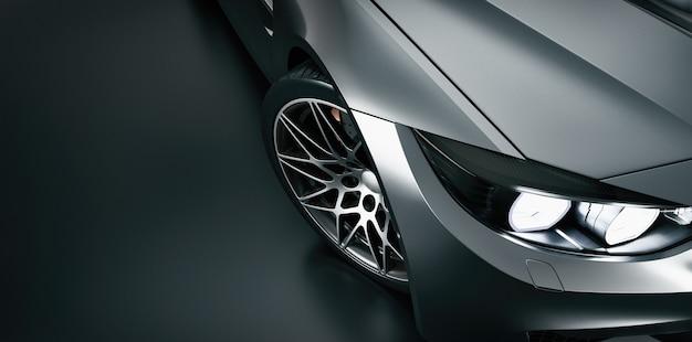 Zwarte sportwagen met hoge hoek Premium Foto