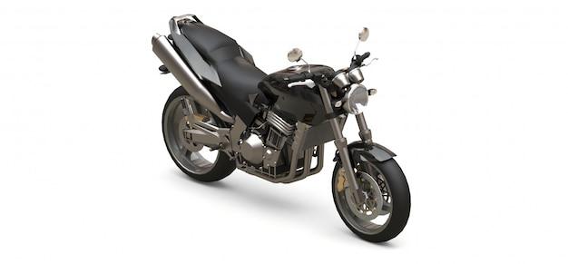 Zwarte stedelijke sport tweezitter motorfiets op een witte achtergrond Premium Foto