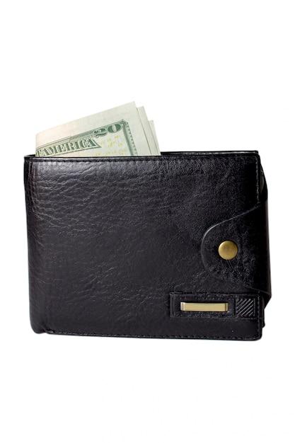 Zwarte tas met geld Premium Foto
