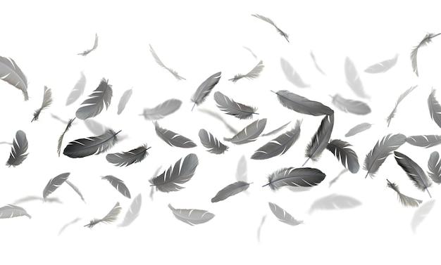 Zwarte veren zweven in de lucht Premium Foto