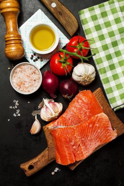 Zwarte voorbereiding dieet zalm pasta Gratis Foto