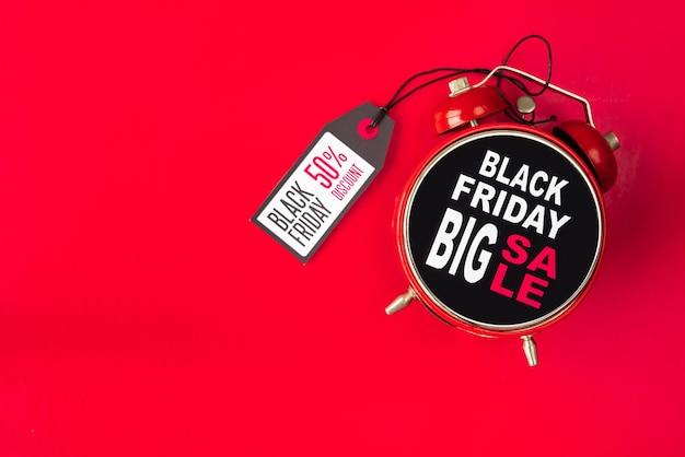 Zwarte vrijdag grote verkoop wekker met tag Gratis Foto