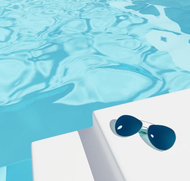 Zwembadachtergrond of schoonheidsmiddelen, de zomerverkoop Premium Foto