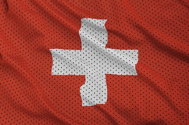 Zwitserland vlag gedrukt op een polyester nylon sportkleding mesh stof Premium Foto