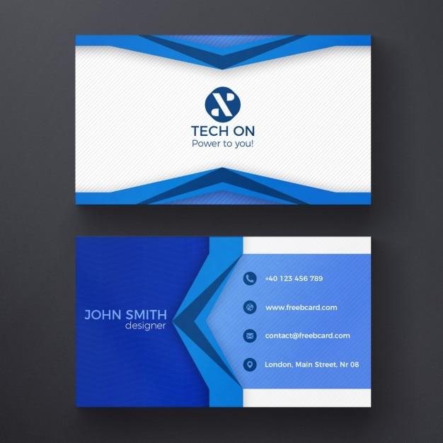 Blauw moderne adreskaartjesjabloon Gratis Psd