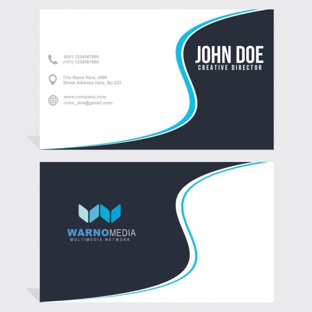 Blauwe en witte visitekaartje met golvende vormen Gratis Psd