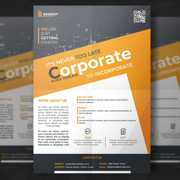 Geel en grijs corporate flyer sjabloon Gratis Psd