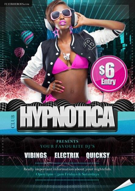 gratis flyer Vrijdag - Hypnotica club flyer sjabloon Gratis Psd