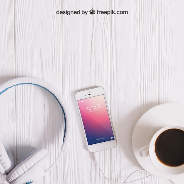 Muziek mockup met smartphone Gratis Psd