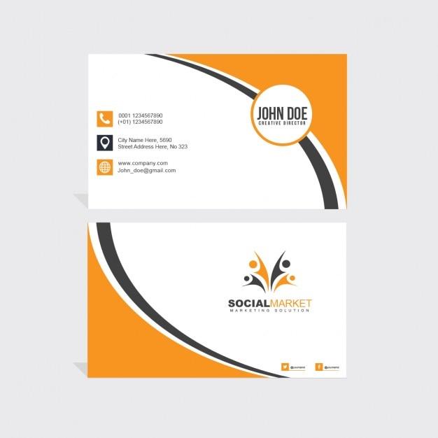 Oranje en zwart adreskaartje Gratis Psd
