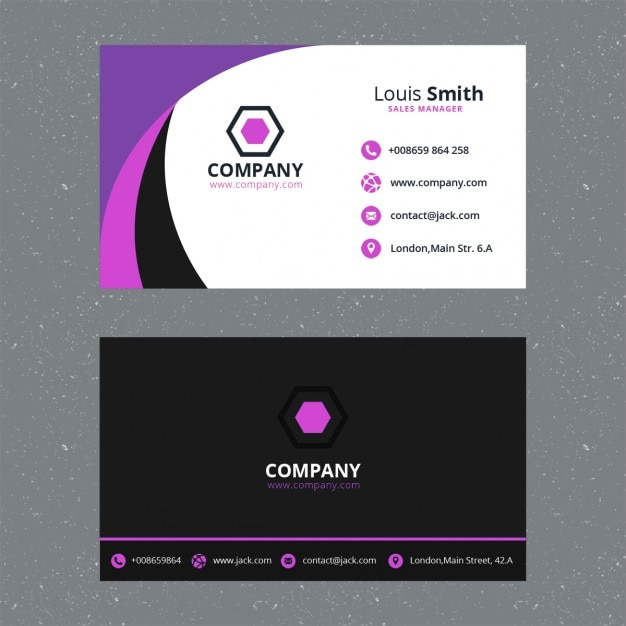 Paarse corporate business card template Gratis Psd