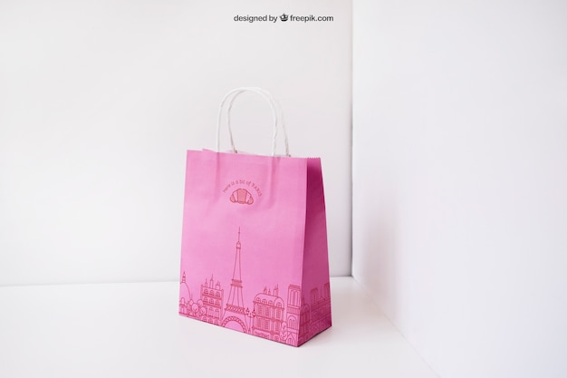 De Papieren Zak : Roze papieren zak in de hoek psd bestanden gratis download
