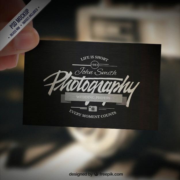 Visitekaartje mockup in retro stijl Gratis Psd