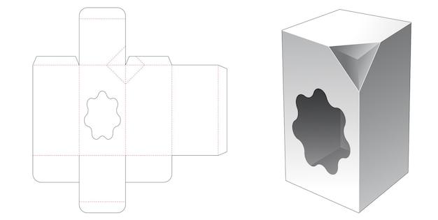 1 hoge doos met afgeschuinde hoek met freeform-vormige raamgestanste sjabloon Premium Vector