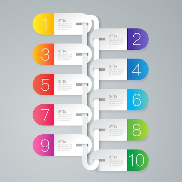 10 stappen bedrijfs infographic elementen voor de presentatie Premium Vector