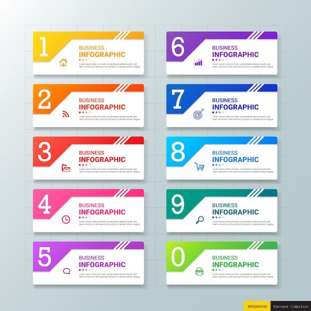 10 stappen infographics grafiekensjabloon Premium Vector