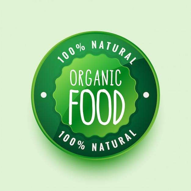 100% biologisch natuurlijk voedseletiket of stickerontwerp Gratis Vector