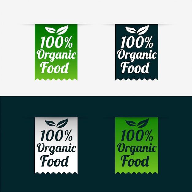 100% biologisch voedseletiketten in lintstijl Gratis Vector