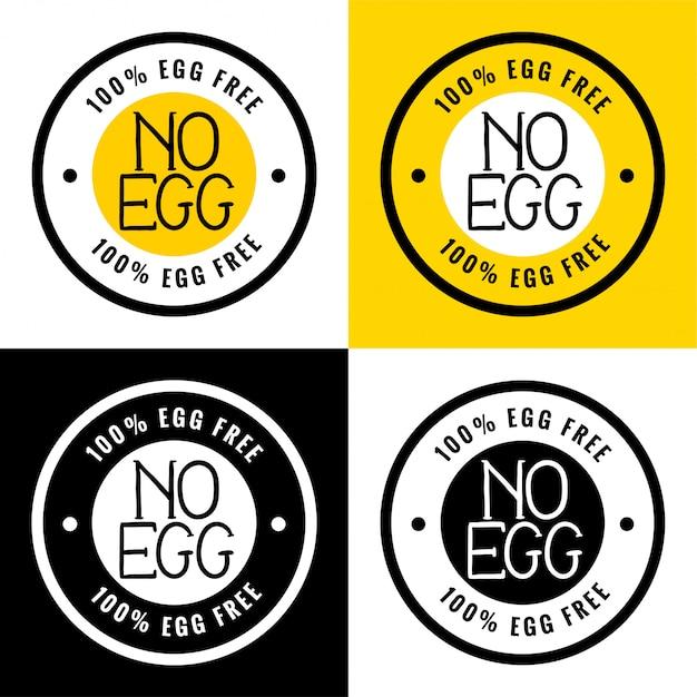 100% ei-vrij of geen ei-etiket Gratis Vector