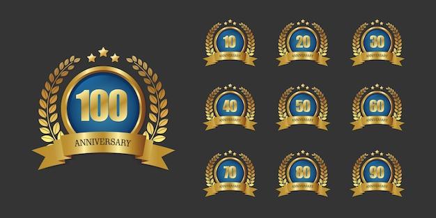 100 jaar verjaardag logo sjabloon Premium Vector