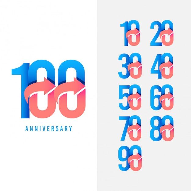 100-jarig jubileum instellen logo vector sjabloon ontwerp illustratie Premium Vector