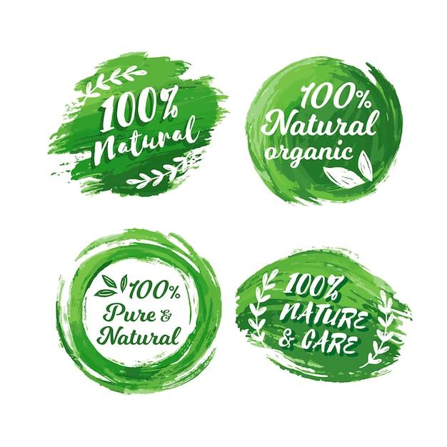100% natuurlijke badge-collectie Gratis Vector