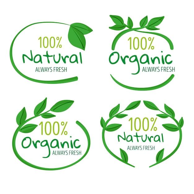 100% natuurlijke badgeset Gratis Vector