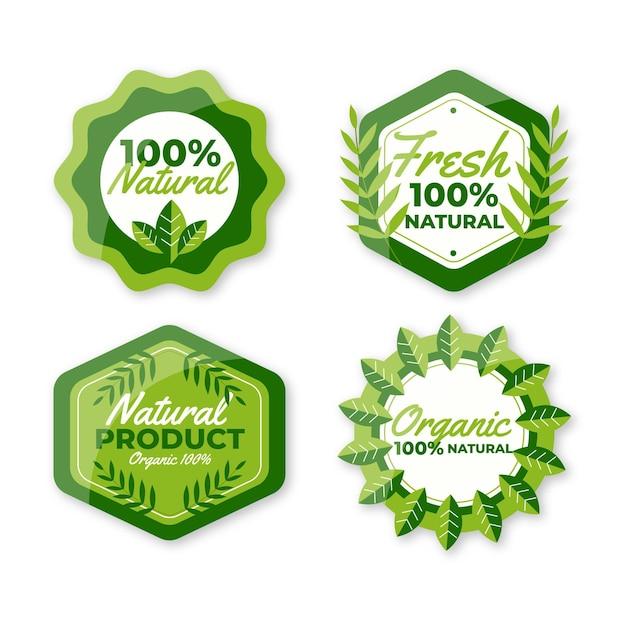 100% natuurlijke labelcollectie Gratis Vector