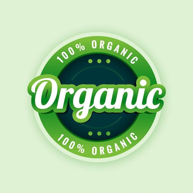 100% puur en biologisch label- of stickerontwerp Gratis Vector