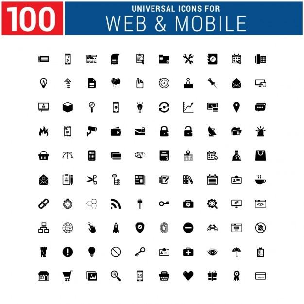 100 universele icoon Gratis Vector
