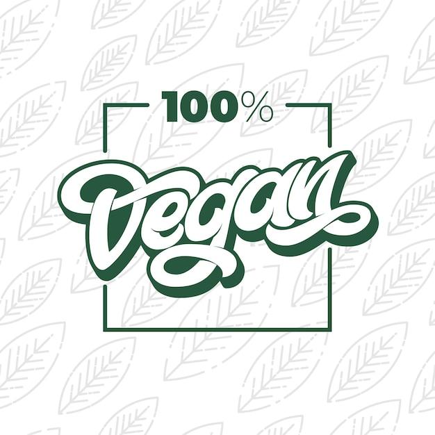 100 vegan-typografie met vierkant frame. Premium Vector