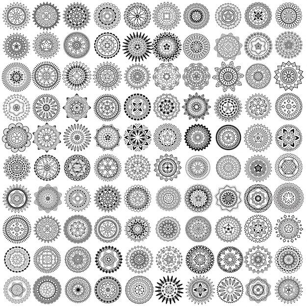 100 zwarte vector mandala cirkels Gratis Vector