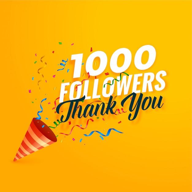 1000 volgers bedanken achtergrond met confetti Gratis Vector