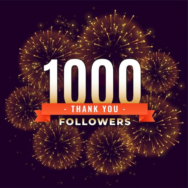1000 volgers dank je viering vuurwerksjabloon Gratis Vector