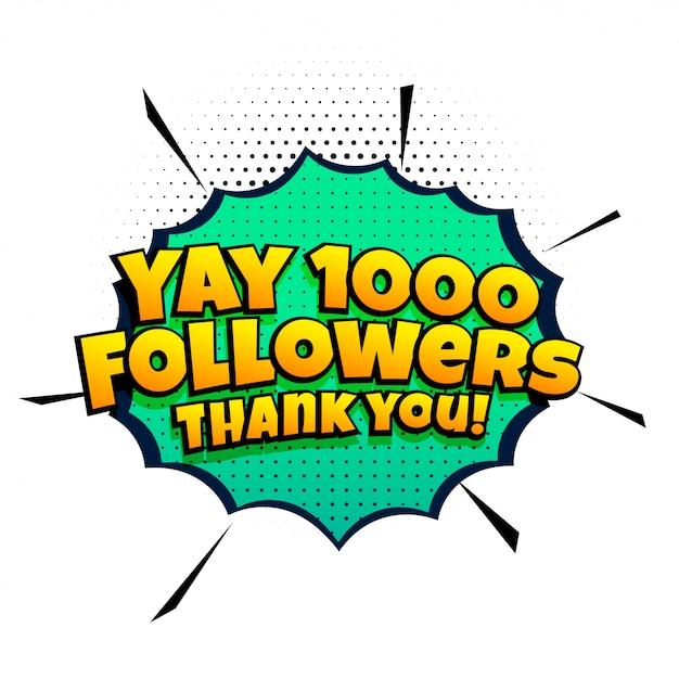 1000 volgerssuccessjabloon in komische stijl Gratis Vector