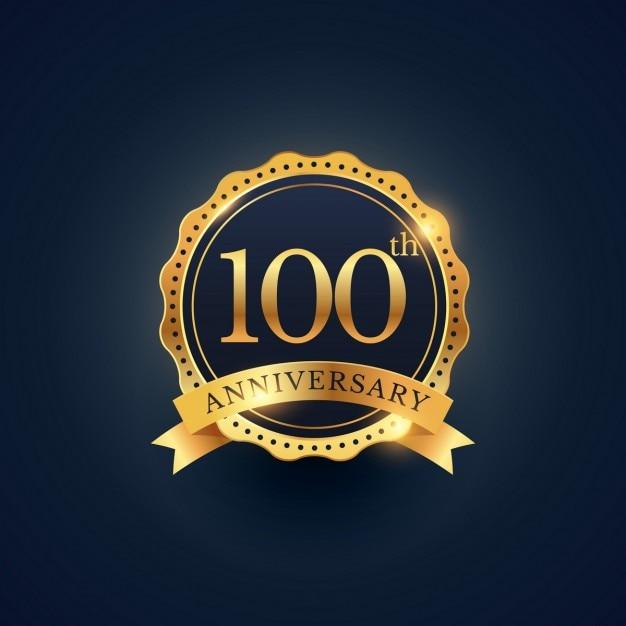 100ste Verjaardag Badge Viering Etiket In Gouden Kleur Vector