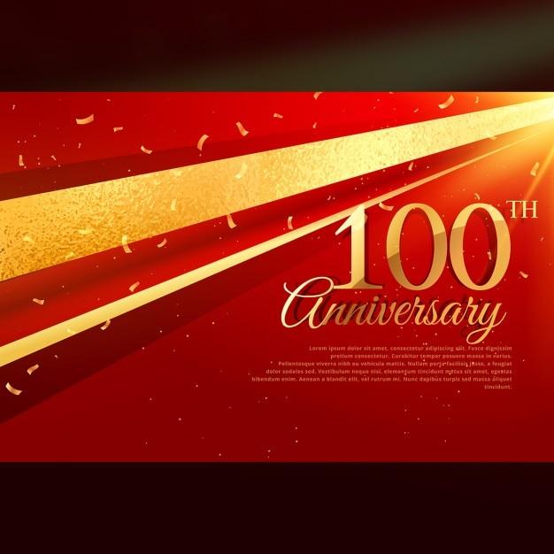 100ste Verjaardag Kaart Viering Template Vector Gratis Download