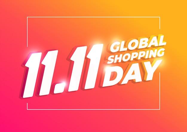 11.11 winkeldagbanner, wereldwijde winkeldag. Premium Vector