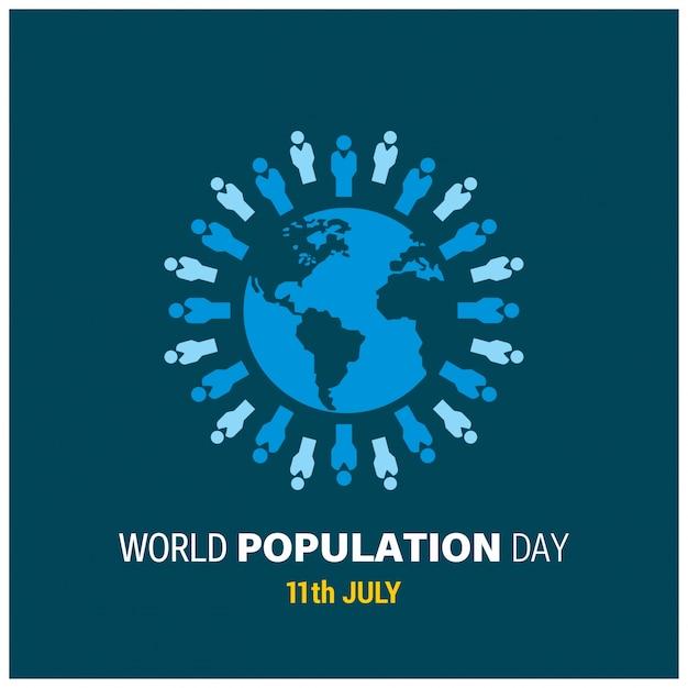 11 juli wereldbevolkingsdag Gratis Vector