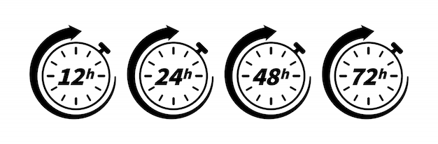 12, 24, 48 en 72 uur klok pijlpictogram geïsoleerd op een witte achtergrond. conceptelement voor web- en printontwerp. werktijdeffect of bezorgtijd. Premium Vector