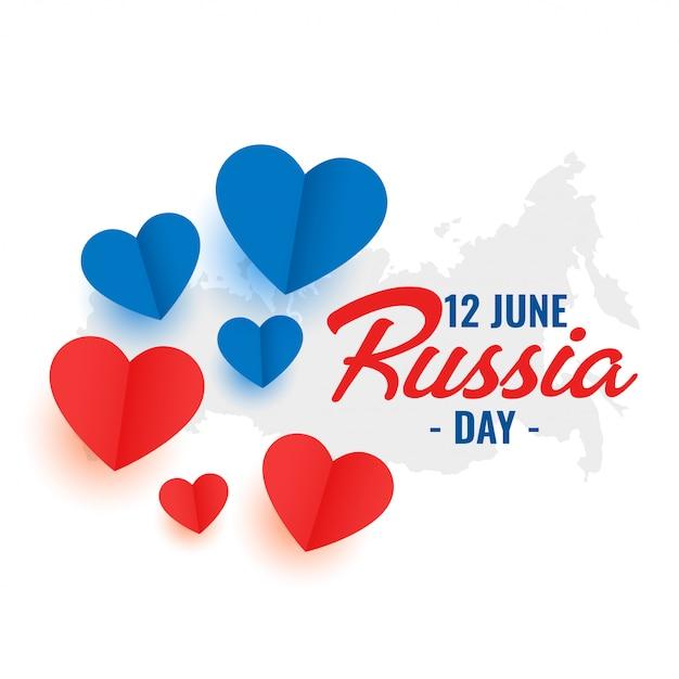 12 juni rusland dag hart decoratie posterontwerp Gratis Vector