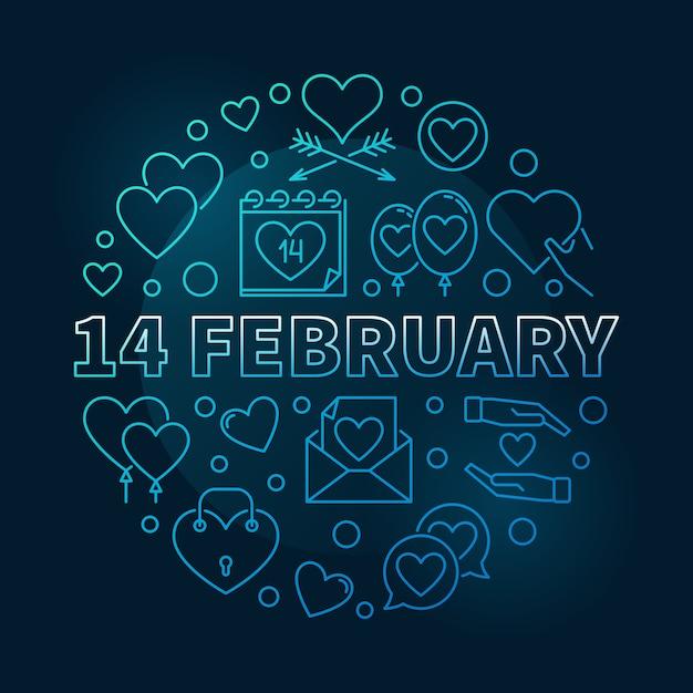 14 februari ronde illustratie Premium Vector