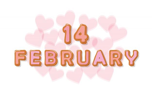 14 februari zoete cartoonbrieven Premium Vector