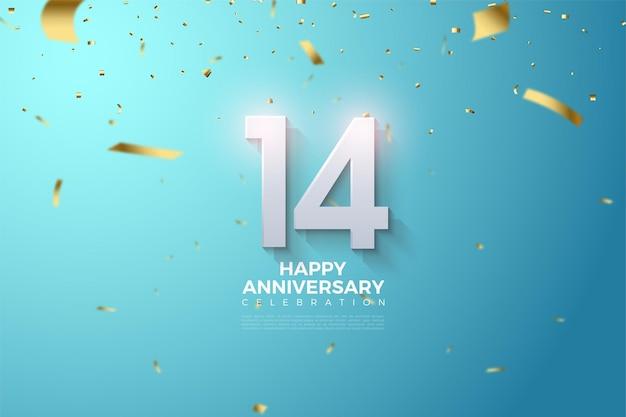 14e verjaardag met 3d-dimensionale getallen die ontstaan. Premium Vector