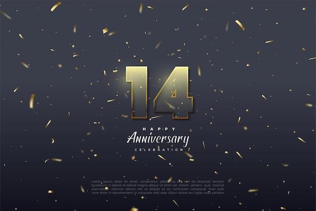 14e verjaardag met 3d-transparante cijfers. Premium Vector