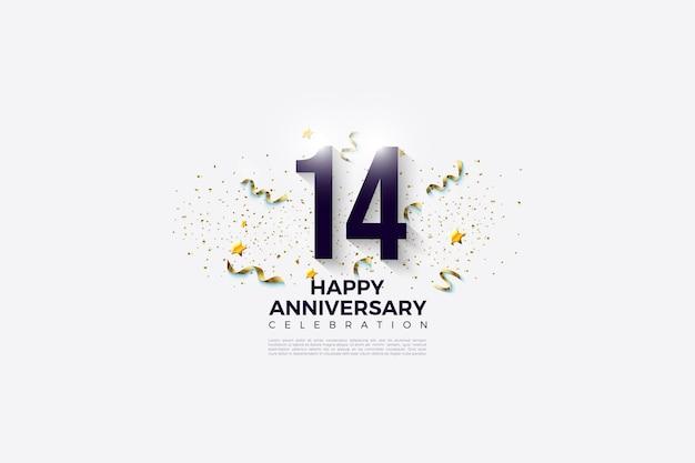 14e verjaardag met cijfers en feest. Premium Vector